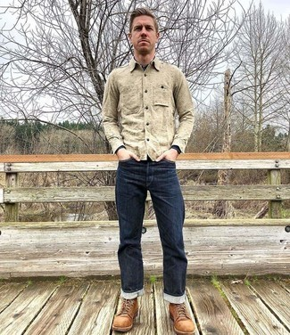 Beige Long Sleeve Shirt Outfits For Men: A beige long sleeve shirt and navy jeans are absolute menswear essentials if you're figuring out a casual wardrobe that holds to the highest style standards. A pair of tobacco suede casual boots will add a different twist to an otherwise standard ensemble.