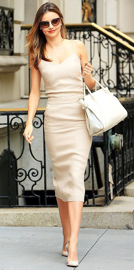 How to Wear a Beige Midi Dress (17 looks   outfits)  2436f4082