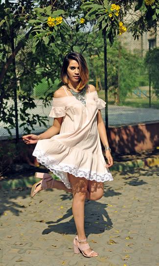 Women's Beige Off Shoulder Dress, Pink Suede Heeled Sandals, Silver Necklace