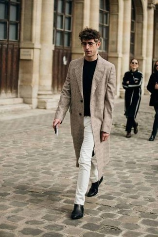 How to Wear White Jeans For Men: For a casually classy outfit, dress in a beige plaid overcoat and white jeans — these pieces fit really well together. Add a pair of black leather chelsea boots to this ensemble to take things up a notch.