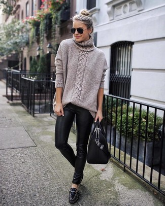 How To Wear Leggings With A Tan Knit Oversized Sweater 6 Looks