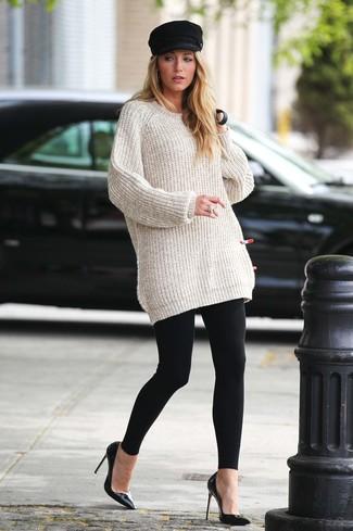 Blake Lively wearing Beige Knit Oversized Sweater, Black Leggings, Black Leather Pumps, Black Flat Cap