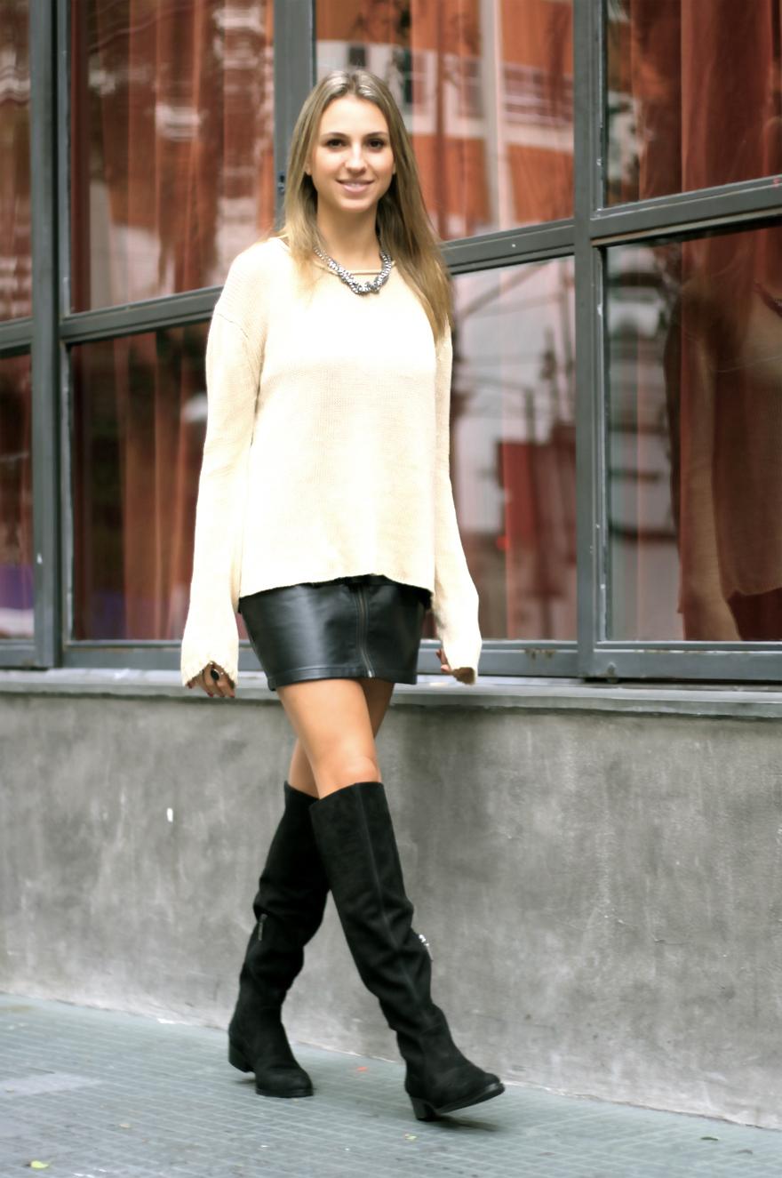 94da56794b Women s Beige Knit Oversized Sweater