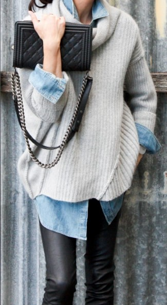 Women's Beige Oversized Sweater, Light Blue Denim Shirt, Black Leather Skinny Jeans, Black Quilted Leather Crossbody Bag