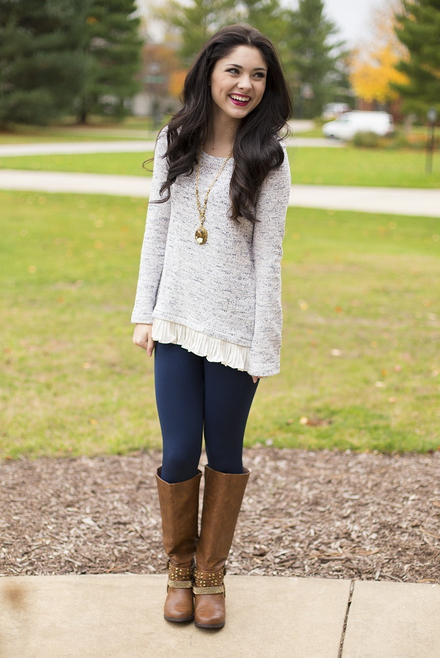 Women's Beige Oversized Sweater, Navy Leggings, Brown Leather Knee ...