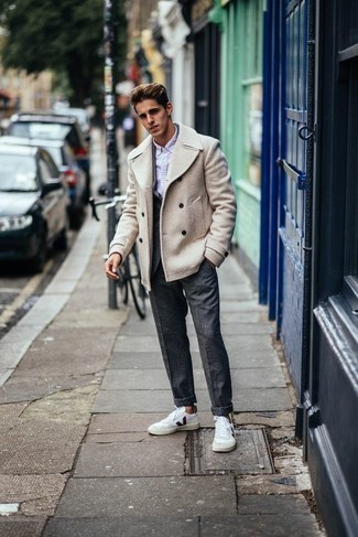 Dark Purple Dress Shirt Outfits For Men: A dark purple dress shirt and a beige pea coat are an incredibly dapper ensemble to try. Complete your outfit with a pair of white and red canvas low top sneakers to instantly step up the cool of this getup.