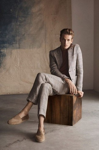 How to Wear Tan Suede Espadrilles For Men: This pairing of a beige plaid suit and a brown crew-neck t-shirt is a must-try effortlessly polished getup for any modern gentleman. Tan suede espadrilles will give a hint of stylish casualness to an otherwise dressy look.