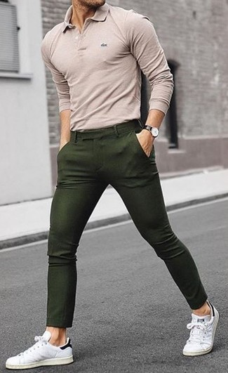 How to wear: beige polo, olive chinos, white leather low top sneakers, black leather watch