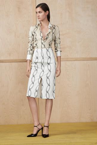 How to wear: beige print dress shirt, white print pencil skirt, black leather pumps