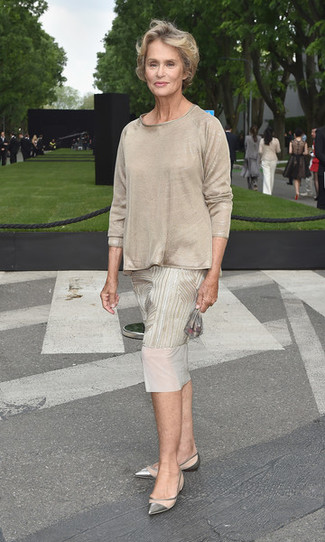 How to Wear a Beige Long Sleeve T-shirt For Women: A beige long sleeve t-shirt and a beige print midi dress are the kind of a never-failing off-duty combo that you need when you have no extra time. Introduce silver leather ballerina shoes to the mix to make a traditional outfit feel suddenly fresh.