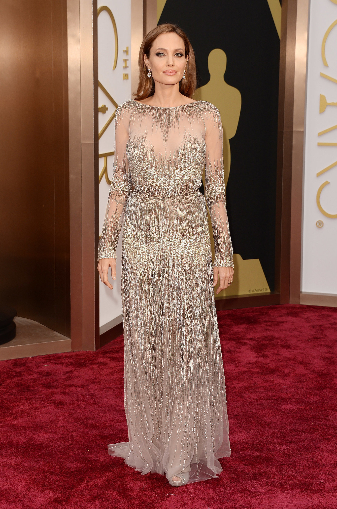 Angelina Jolie wearing Beige Sequin Evening Dress | Women\'s Fashion