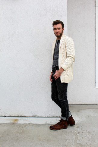 How to wear: beige shawl cardigan, charcoal henley sweater, black jeans, brown suede casual boots