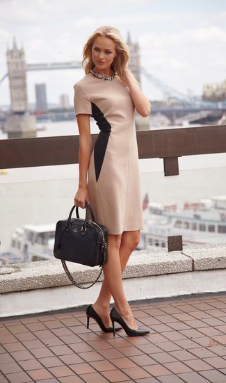 How to wear: beige sheath dress, black leather pumps, black leather tote bag, clear necklace