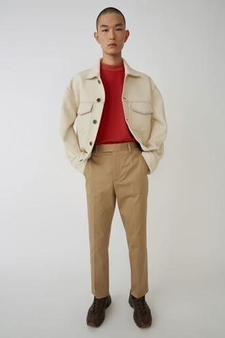 How to Wear a Beige Shirt Jacket For Men: Such must-haves as a beige shirt jacket and khaki chinos are the ideal way to inject some rugged refinement into your daily routine. Add a dose of stylish effortlessness to by rocking a pair of dark brown athletic shoes.