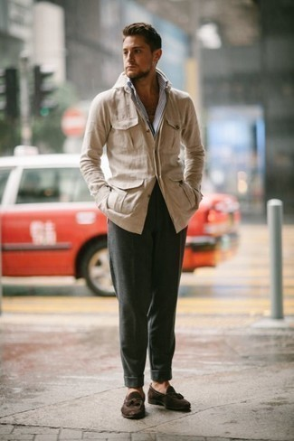How to Wear Dark Brown Suede Tassel Loafers: This combination of a beige shirt jacket and dark green chinos is a winning option when you need to look dapper but have zero time to plan out a look. And if you need to immediately level up this look with a pair of shoes, why not add dark brown suede tassel loafers to the mix?