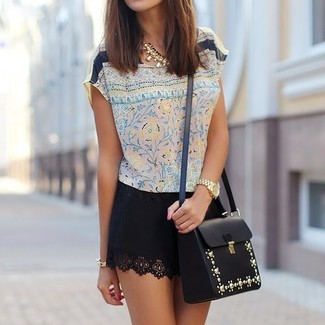 How to wear: beige floral silk short sleeve blouse, black mini skirt, black embellished leather crossbody bag, gold necklace
