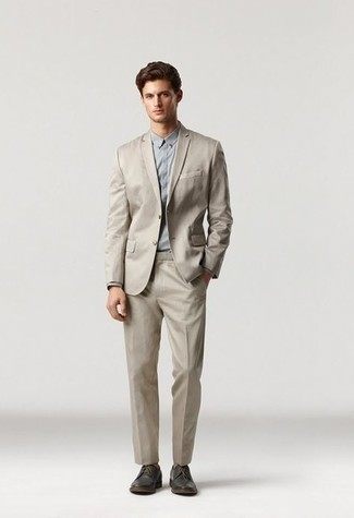 1200+ Warm Weather Outfits For Men: This combo of a beige suit and a grey dress shirt comes to rescue when you need to look like a visionary in the menswear department. Finishing with dark brown leather derby shoes is an easy way to bring a more laid-back touch to this outfit.