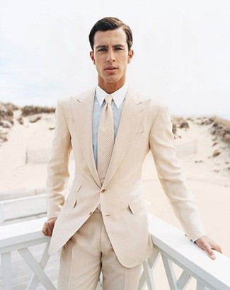 Men's Beige Suit, Light Blue Dress Shirt, Beige Tie | Men's Fashion