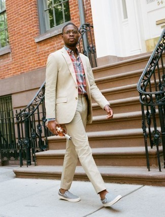 Beige Suit Outfits: This refined combo of a beige suit and a multi colored plaid dress shirt is a must-try ensemble for any modern gent. For a more relaxed twist, complete your ensemble with a pair of light blue canvas slip-on sneakers.