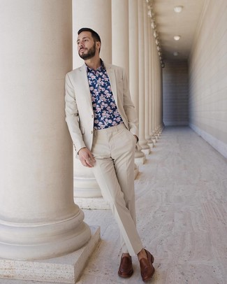 How to wear: beige suit, navy floral long sleeve shirt, brown leather loafers