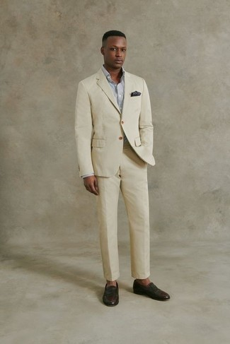 Dark Brown Leather Loafers Outfits For Men: Pair a beige suit with a white and black check dress shirt if you're aiming for a clean-cut, trendy ensemble. A pair of dark brown leather loafers is a smart idea to round off your getup.