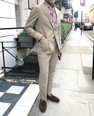 How to wear: beige suit, white and red vertical striped dress shirt, dark brown suede tassel loafers