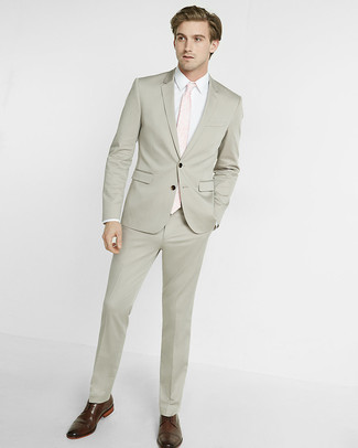 How to wear: beige suit, white dress shirt, brown leather brogues, pink tie