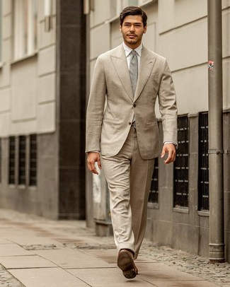 Men's Beige Suit, White Dress Shirt, Brown Leather Loafers, Grey Tie