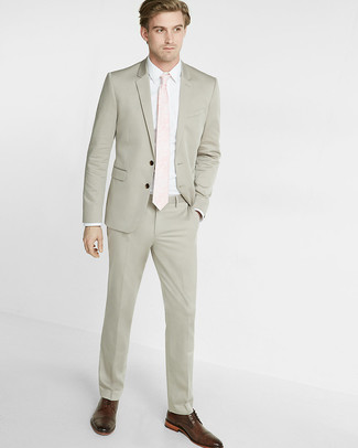 How to wear: beige suit, white dress shirt, dark brown leather derby shoes, pink tie