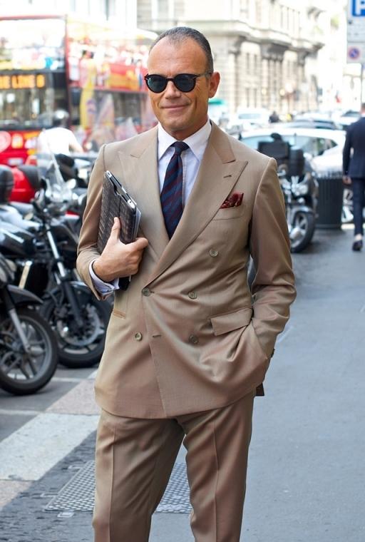 Men's Beige Suit, White Dress Shirt, Navy Vertical Striped Tie, Burgundy  Pocket Square | Men's Fashion