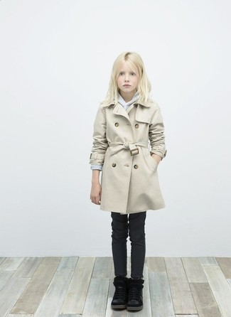 How to wear: beige trench coat, grey sweater, black jeans, black boots