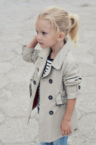 How to wear: beige trench coat, white and navy horizontal striped t-shirt, light blue jeans