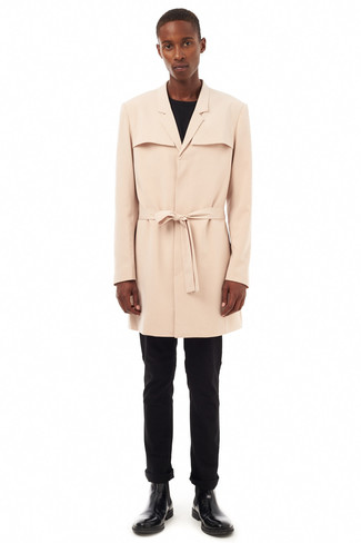 How to wear: beige trenchcoat, black long sleeve t-shirt, black chinos, black leather chelsea boots