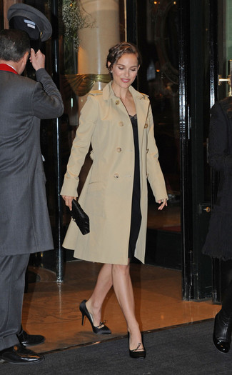 How to wear: beige trenchcoat, black sheath dress, black satin pumps, black satin clutch