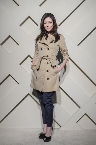 How to wear: beige trenchcoat, navy dress pants, black suede pumps