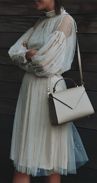 How to wear: beige tulle midi dress, beige leather crossbody bag