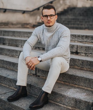 How to wear: beige knit wool turtleneck, beige chinos, black leather chelsea boots, dark brown leather watch