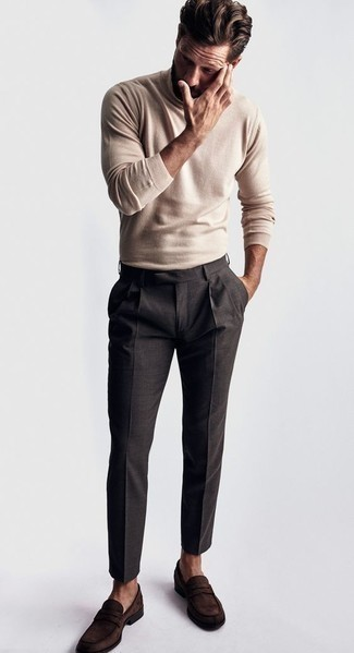 How to Wear a Beige Turtleneck For Men: You can be sure you'll look cool and classic in a beige turtleneck and charcoal dress pants. Dark brown suede loafers are a surefire footwear option here that's full of personality.