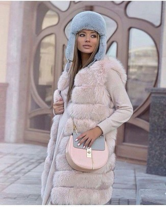 How to Wear a Beige Sweater Dress: For an outfit that's pared-down but can be flaunted in plenty of different ways, consider wearing a beige sweater dress and a beige fur vest.