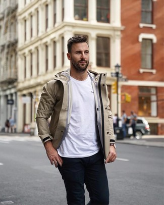 How to wear: beige windbreaker, white crew-neck t-shirt, black chinos, dark brown leather watch