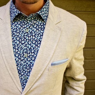 How to wear: beige wool blazer, blue floral dress shirt, blue gingham pocket square