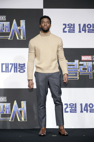 Make a beige wool turtleneck and charcoal vertical striped dress pants your outfit choice to achieve new levels in outfit coordination. Harry's of London Harrys Of London Harold Chelsea Boots complement this outfit very well. Clearly, a look like this will keep you warm and stylish during the fall.
