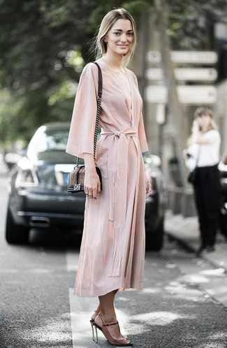 How to Wear Suede Heeled Sandals: Choose a beige wrap dress if you're aiming for a neat, fashionable outfit. Suede heeled sandals are a welcome addition for this ensemble.