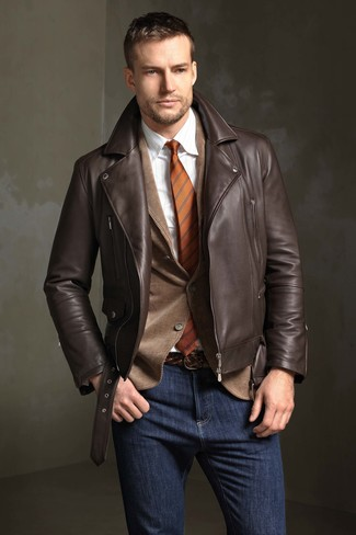 How to wear: dark brown leather biker jacket, brown corduroy blazer, white vertical striped dress shirt, navy jeans