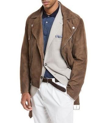 How to wear: brown suede biker jacket, beige blazer, navy polo, white dress pants