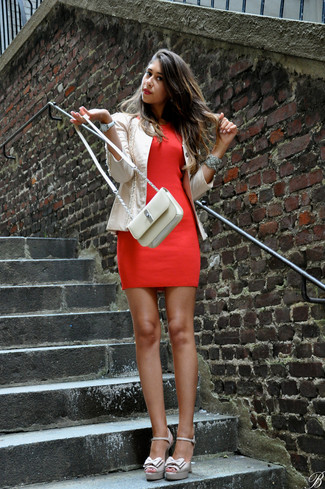 How to wear: beige leather biker jacket, red bodycon dress, beige leather heeled sandals, beige leather crossbody bag