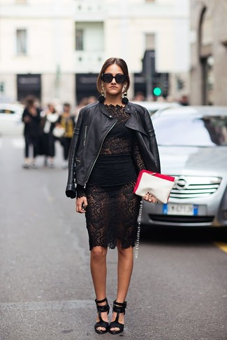 Dress in a black leather moto jacket and a black lace bodycon dress for an effortless kind of elegance. Perk up your getup with black leather heeled sandals. So so as you can see, it's a seriously stylish, not to mention spring-ready, ensemble to have in your transitional wardrobe.
