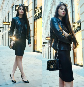 How to wear: black leather biker jacket, black bodycon dress, black leather pumps, black quilted leather crossbody bag