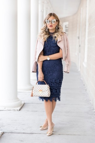 How to wear: pink leather biker jacket, navy lace bodycon dress, beige leather pumps, grey plaid leather satchel bag