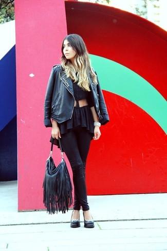 How to wear: black studded leather biker jacket, black button down blouse, black leather leggings, black studded leather pumps